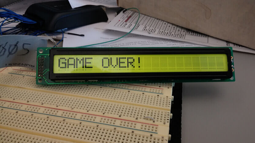 GAME OVER! A message from the hangman game.